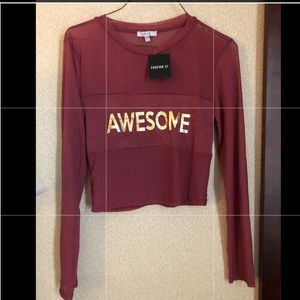 FOREVER 21  Awesome Graphic Mesh Crop Knit Top.L